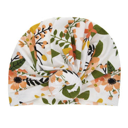 White Floral Front Knot Hat