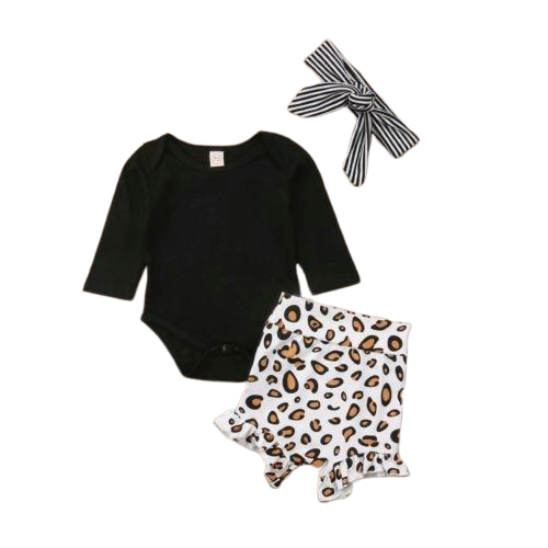Leopard Print Bloomers & Romper Set with Head Band - lottie-and-lane