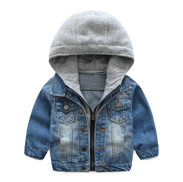 jean jacket for kids with grey hood
