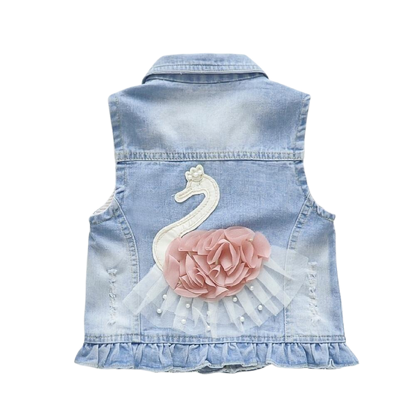 Swan Denim Vest - lottie-and-lane