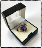 VintagePalace.Us, 10 Kt Yellow Gold, Large Dark Purple Sapphire, Cocktail Ring, Right Side View 1,