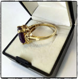 VintagePalace.Us, 10 Kt Yellow Gold, Large Dark Purple Sapphire, Cocktail Ring,  Inside Stamp View,