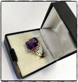 VintagePalace.Us, 10 Kt Yellow Gold, Large Dark Purple Sapphire, Cocktail Ring, Left Side View 1,