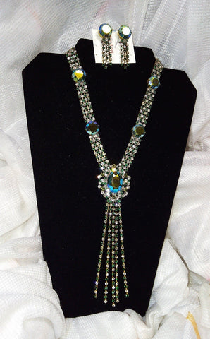 VINTAGE CZECH CRYSTAL 2 PIECE EXTRAVAGENT NECKLACE AND EARINGS SET