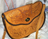 VINTAGEPaLACE.US, 1960S VInTAGE, HaND TOOlED LEAThER, Hand bAG, HIpPY BOhO,