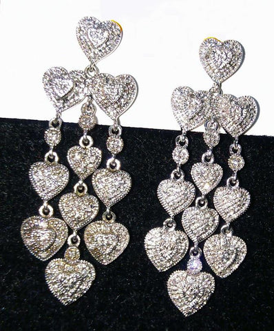 VINTAGE STERLING SILVER WOMEN'S HEART DANGLE CHANDELIER PIERCED EARINGS