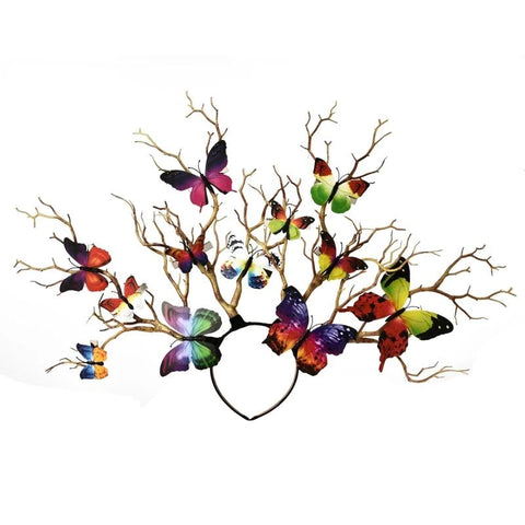 VINTAGEPALAcE.US, butterfly head piece, flora and fauna, WOODLAND FAIRY, Gay Rainbow, Tree BRANCHES,