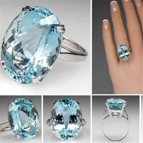 VINTAGEPALACE.US, BLUE ZIRCON LARGE STONE, .925 Silver, Sterling rING, lADIES white zIRCON gEMSTONE ring,
