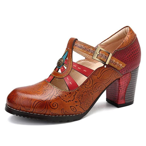 vintagepalace.us, leaTHER MAryJANES, WomeN'S BohEMIAn hEEls, boHO, HippIE, 60'S, fUNKY, CUte, sweeT, BROWN AND RED,