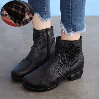 vintagepALace.us, Red Leather Rose, Mongol Type, Ladies Boots, Comfortable, Fashionable, Stylish, BLACK2,