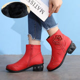 viNTagepalace.us, Red Leather Rose, Mongol Type, Ladies Boots, Comfortable, Fashionable, Stylish, RED OTHERSIDE VIew,