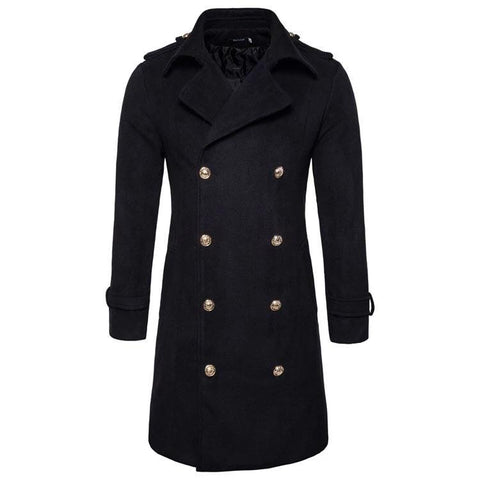 VINTAGEPALACE.US, Male WooLEN TreNCH pEaCoat, WarM FOR wINtER, bLACK WITH doublE BUTTONS, dOUble BREasted, Sexy, FitteD,