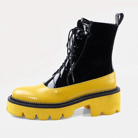 vintagepalace.us, YelloW aND bLAck, BumblE bEE cOLORED, LeatheR PlatforM Boots, for Women, RubbER lATEx Look,