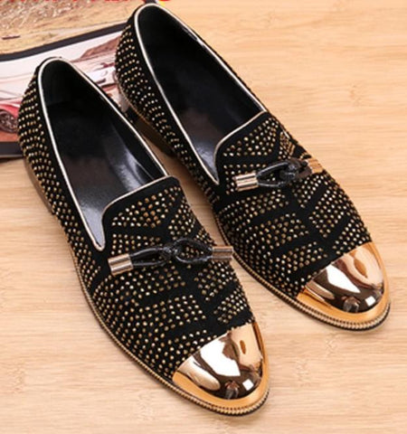 VINTAGEPALACE.US, Black suedE ShoeS, RhinEsTone Studded sLIp oNs, DresS LoaFers, SeXY AND SuAVe,
