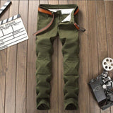 Men's jeans homme New trend splice Nightclub type male pants Alternative Small feet Micro-bomb Army Green High-end trousers