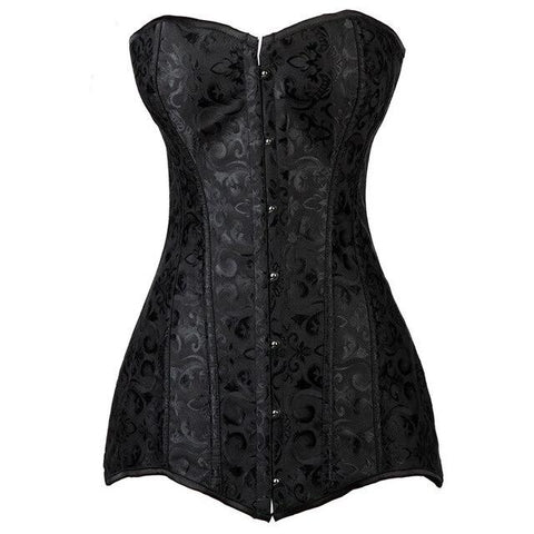 VintagePALACE.us, LoNG cUrVY bUStier, blACK bRocAde, VicTorian Sexiness, Hip CoRSet, GothIC AND sExY,