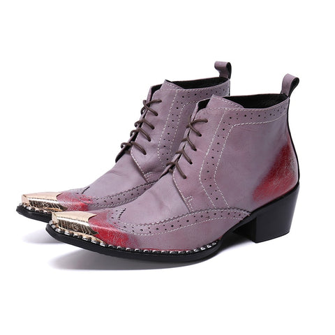 VINTAGEPALACE.US, GenUINE lEather and RhineStone BOoots for Men, SexY AND fLAMBOyant, PurPLE WITH rUBBER sOLES, pOINTED tOEs, hIGH hEEled, Fashionable, HIgh DreSS sHoes,