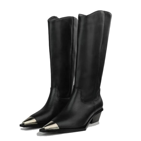 vintagepalace.us, knEE Height GeNUINE LeATHER lADies Boots, Metal , Pointed Toe and SquarE hEEL aCCENTED, Edgy, MoDErn,