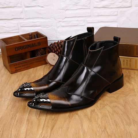 vintagepalace.us, browN Or BlACK lEather mEns Dress Boot, Elegant, Dress Up, Styling, flASHY, EYE Catching,, brown/black,