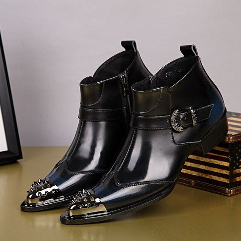 vintaGEpalace.us, BlACK GenUIne lEatHer mEns DreSs BOot, Elegant, Dress Up, Styling, flASHY, EYE Catching, BLACk StuddED LeATHER,