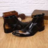 vintagepalace.US, brOwN Or BlACK GeNUIne lEathEr mEns Dress Boot, ElegAnt, DreSs Up, StylIng, flAsHY, EYE CatChing,, broWn/blAck,