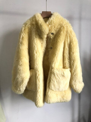 vintagepalace.US, wOolEN LAmBs Wool, LoNg CoaT, OversiZED, LuxURious, Winter White, WARm aNd SofT, cREAm ColoreD,