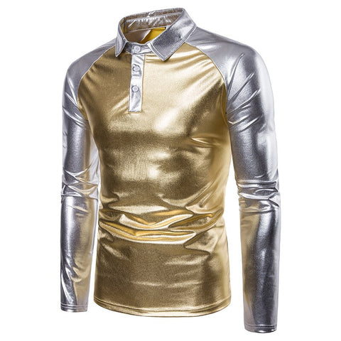 vintagepalace.us, gold and siLver ShinY LamE, lONg sLeeVED ShirT, bRIght and Christmas JOY, slIM FITTing and SexY,