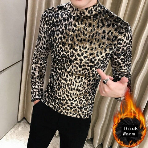 VINtagepalace.us, aNIMAL pRinted tOP fornGentleman, LeoPARD, sexY MenS ShirT,