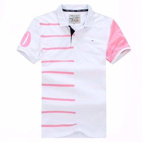 vintagepalae.US, poLo, PrEPPY, pINk aND WhITe, ModERN sTyled, BluE And PiNK, sTRipeD, ShoRt Sleeves, ShiRTS, CoTtON, bReAThable, CoMfORTABLE, NICe,