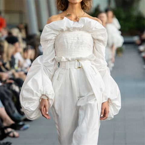 vintagepalace.us, sHOWStopping, Ruffled LadiES, lONG sLEEVED BlouSE, Wow, Capture theIR attention, WhiTE, lANTERN Long Sleeves,