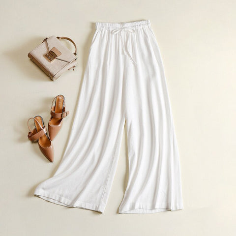 vintagepalace.us. hIgh waisTed pantS, WidE LeggED TroUSERS, wHite, ElAStic wAISt, cASual, cOMfORTABLE, EleGANT,