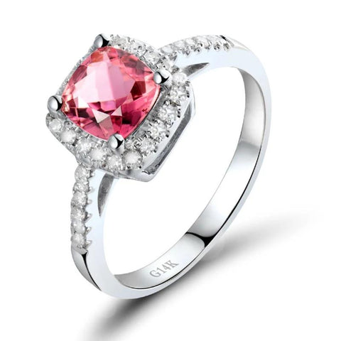 vintagepalace.us, pINk TourMaline and DIamond EnGamenet Ring, 14 kt WhIte Gold, sTAMped, dIFFERENT, BRilliant, gORGEOUS,