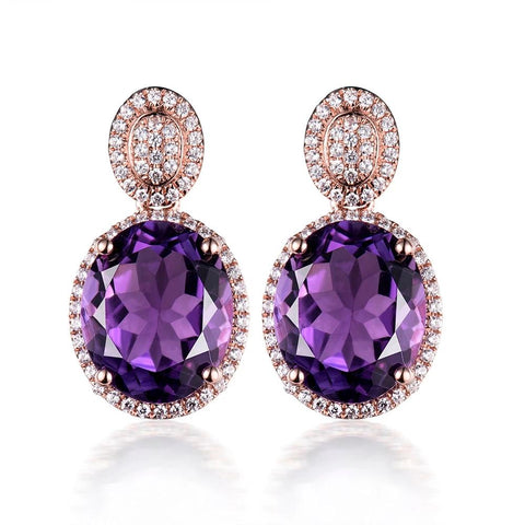 vintagepalace.us, 14 Kt Rose Gold, Amethyst and Diamond Drop Earings, REAL Gold,