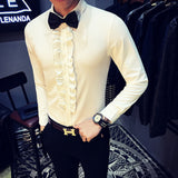 Retro Shirt Men Wedding Party Ruffle Vintage Shirt White Men Black Chemise Homme Slim Fit Shirt Asian Fasion Stage Clothing