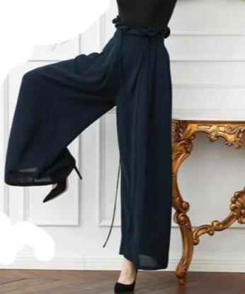 VINTAGEPALACE.US, SupeR wIDE lEGGED lADIes PantS, PurE SilK, Moving Fabric, FlowING TroUSERS, DarK naVY BlUE, HiGh EnD, EleGANT, dRESSy,