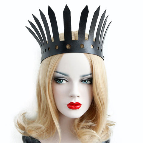vintagepalace.us, faux leather, ladies gothis styled crown, industrial punk,