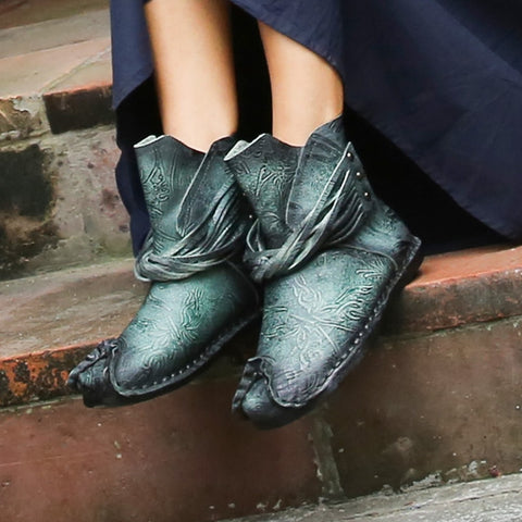 vintagepalace.us, SkY BluE, bROwn, FlaT cUrLY tOEd, AnkLE bootS, gENUine LeathER, Super ComFortaBLE, sPRITE OR fAIRY Booties,
