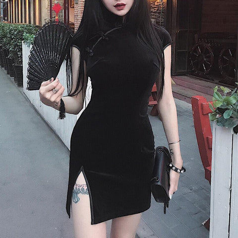 vintagepalace.us, fUNky gOThiC ChineSE SexY wOMen's dreSS, GOTh, PUnked Out, ModeRN AND fIERce, SexY AND Short SpliT LeGGED sHEAth, BlaCK,