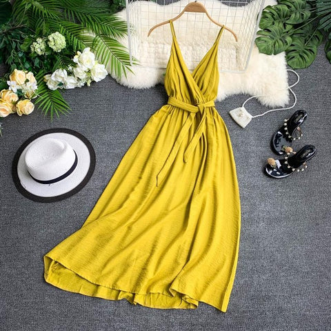 vintagepalace.us, wOMen'S yEllow, Spaghetti Starpped Dress, SprING, sUMMER, kNEE LENGth, EmpIRE wAISTEd, Fun IN tHE sUN,