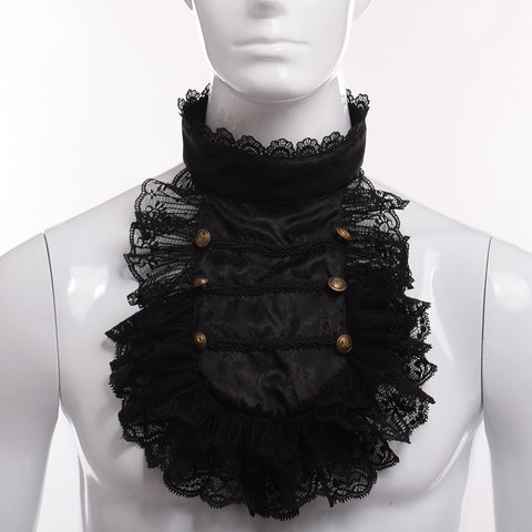 vintagepalace.us, black lacey jabot, neck ruffled cover, victorian mens ow womens accessory, cosplay for fetish,