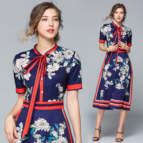 vintagepalace.us, Floral, Navy and Red, 40s Vintage Style, Bow Neck, Ladylike, mid calf legnth, 3 quarter sleeves, dress,