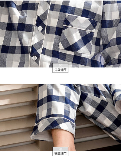 Men's Long Sleeve Checked Cotton Pajamas Set #2301