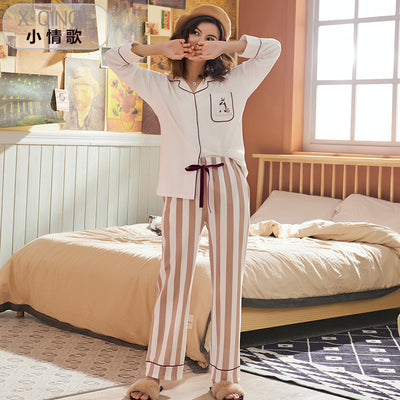 Long Sleeve Cotton Sleepwear Pajamas Set #2017