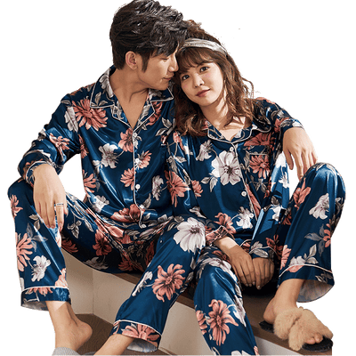 Men and Women's Long Sleeve Satin Sleepwear Pajamas Set #2401,2501