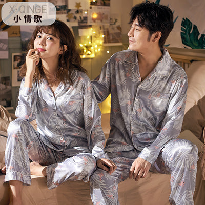 Men and Women's Long Sleeve Satin Sleepwear Pajamas Set #2502,2402