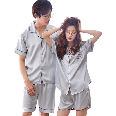 Men and Women's Short Sleeve Satin Pajamas Set #2723 2724
