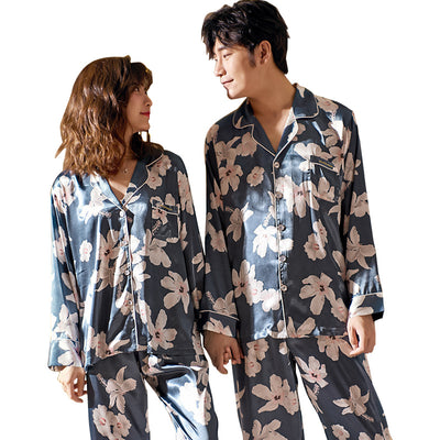 Men and Women's Long Sleeve Satin Sleepwear Pajamas Set #2508_2408