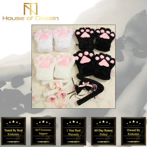 Plush Cat Ears Paws Gloves Tail Anime Cosplay Kitten Pet Play BDSM Kink Fetish T102 PV2-Tails-BDSM Shop - House of Dasein Kink Toys and Apparel