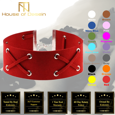 Suede Collar 15 Colors Harajuku Soft Choker Necklace Bondage Restraints c101-Day collar-BDSM Shop - House of Dasein Kink Toys and Apparel