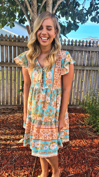 Erin Blue Floral Dress